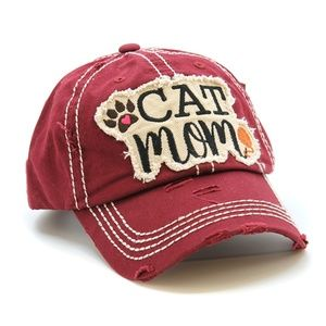 Womens Cap Hat Cat Mom Distressed Vintage Style